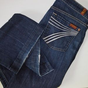 7 For All Mankind Blue Dojo Flare Jeans Sz 28